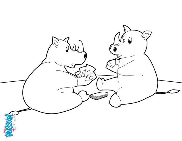 Coloriages deux rhinoc ros jouant aux cartes fr - Rhinoceros dessin ...