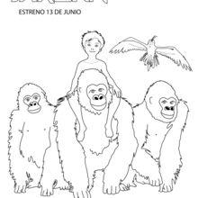 Coloriage : Le petit Tarzan et sa nouvelle famille