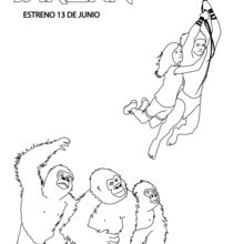 Coloriage : Tarzan et Jane au dessus des gorilles