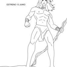 Coloriage : Tarzan et sa liane