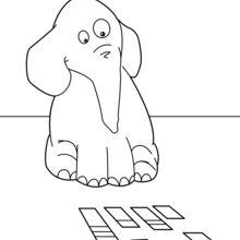 Coloriage : Éléphant qui joue aux cartes