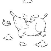 Coloriage : Éléphant volant