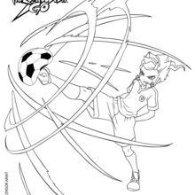 Coloriage Inazuma Eleven : Victor effectuant une Fulgurante Double Tornade de feu