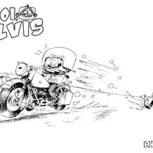 Coloriage : Elvis à moto