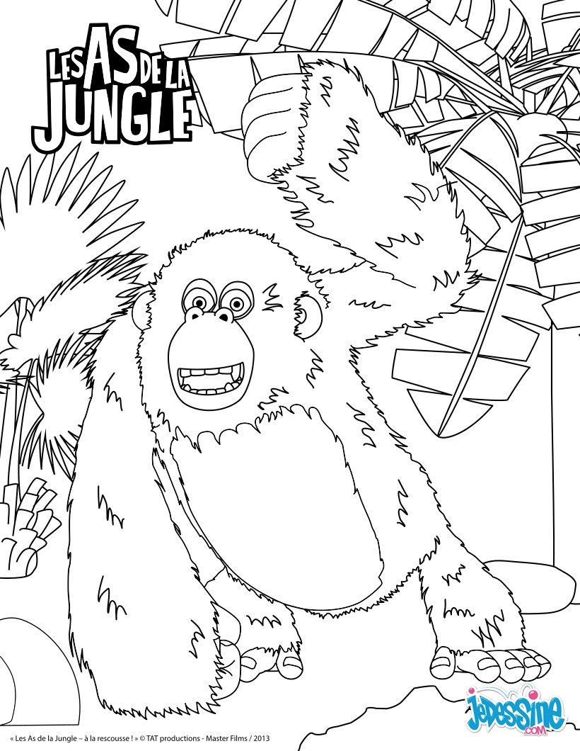 Coloriages miguel le gorille - Dessin de jungle ...