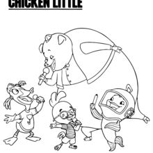 Coloriage Disney : Chicken Little et ses amis