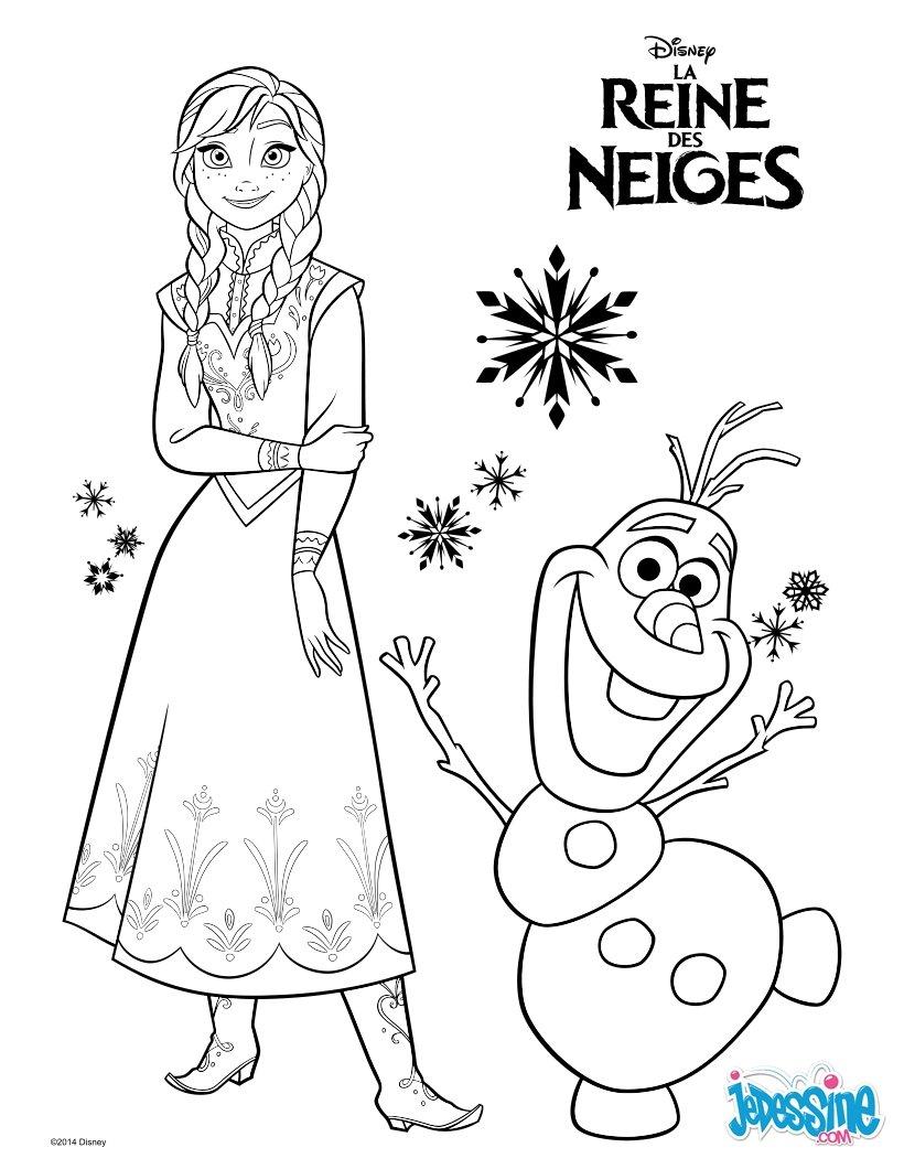 coloriage la reine des neiges anna et olaf