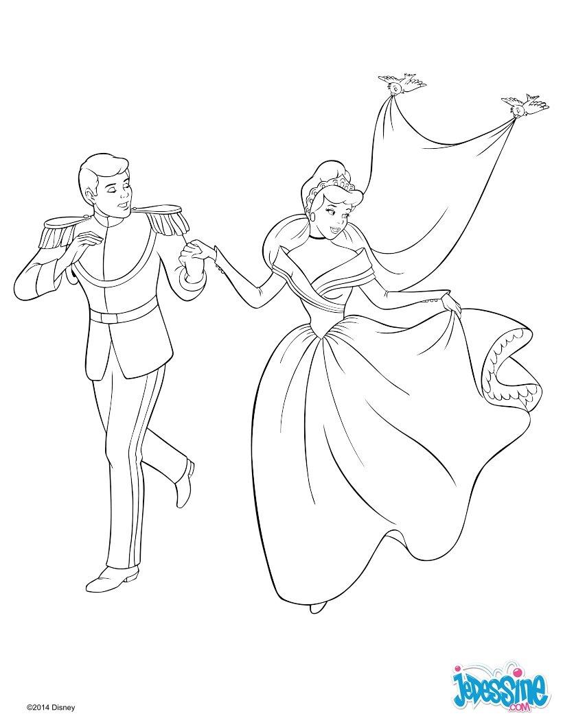 Coloriages cendrillon et son prince - Dessin a imprimer cendrillon ...