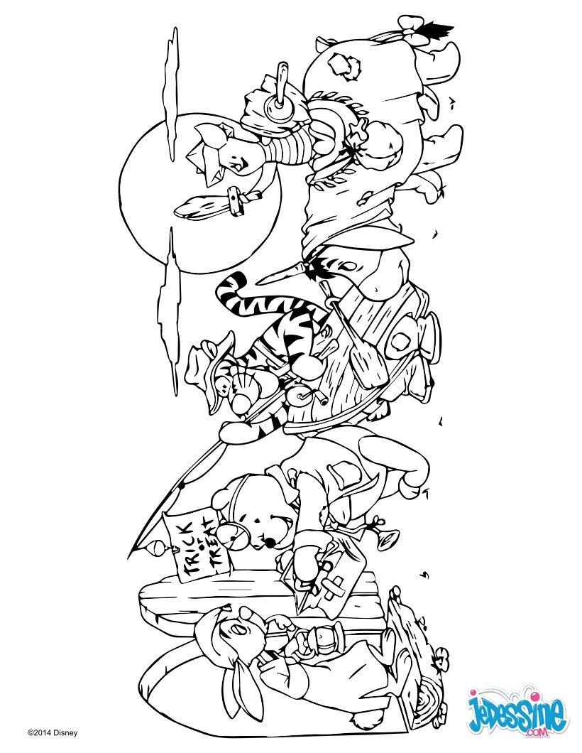 Coloriages winnie et ses amis pour halloween - Coloriage winni l ourson ...