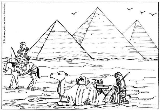 Coloriages chameaux devant les pyramides de gizeh fr - Dessin de pyramide ...