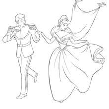 Coloriage Disney : Cendrillon et son prince