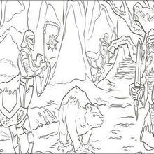 Coloriage MONDE DE NARNIA de chevaliers dans la forêt
