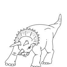 Coloriage : Tricératops à l'attaque