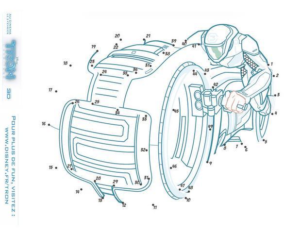 Jeu de points à relier : La moto de TRON