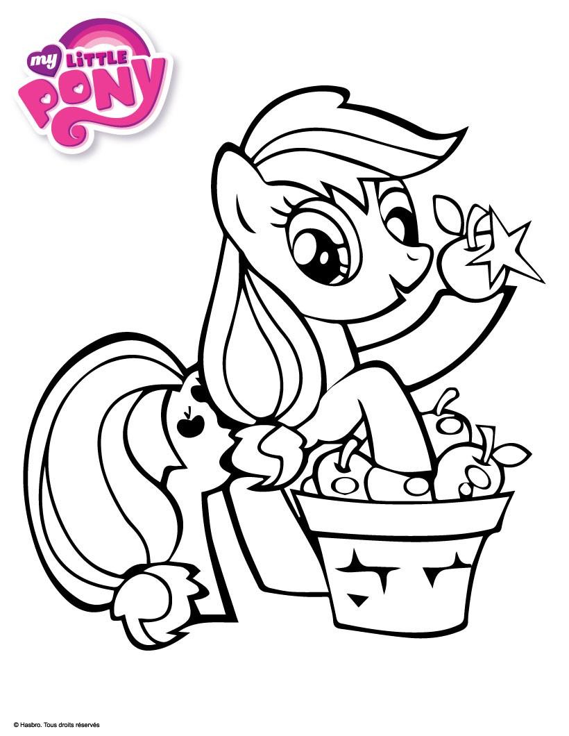 Coloriages applejack cueille des pommes - Coloriage en ligne my little pony ...