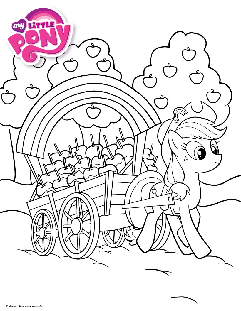 Holiday Coloring Pages twilight sparkle coloring pages : Coloriages applejack ramasse des pommes - fr.hellokids.com