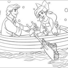 Coloriage Disney : Eric et Ariel en barque
