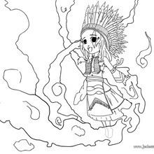 Coloriage d'une indienne et son chapeau de plume