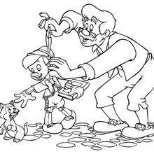 Coloriage : Pinocchio et Geppetto