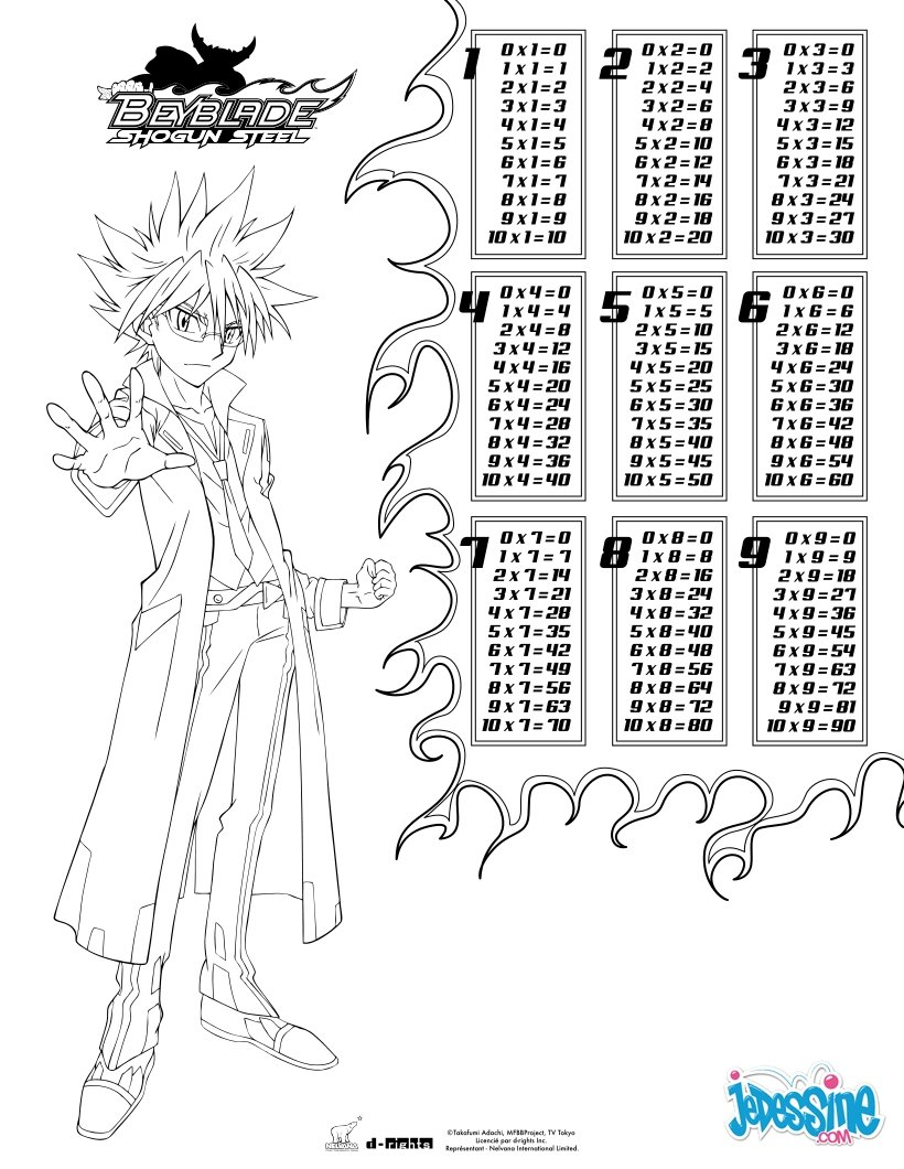Coloriage : Tables de multiplication Beyblade