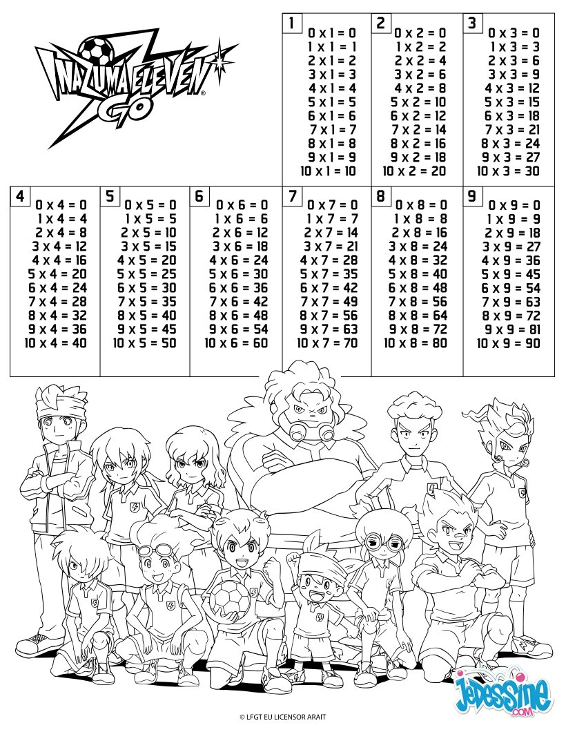 Coloriages tables de multiplication inazuma eleven - Coloriage de multiplication ...
