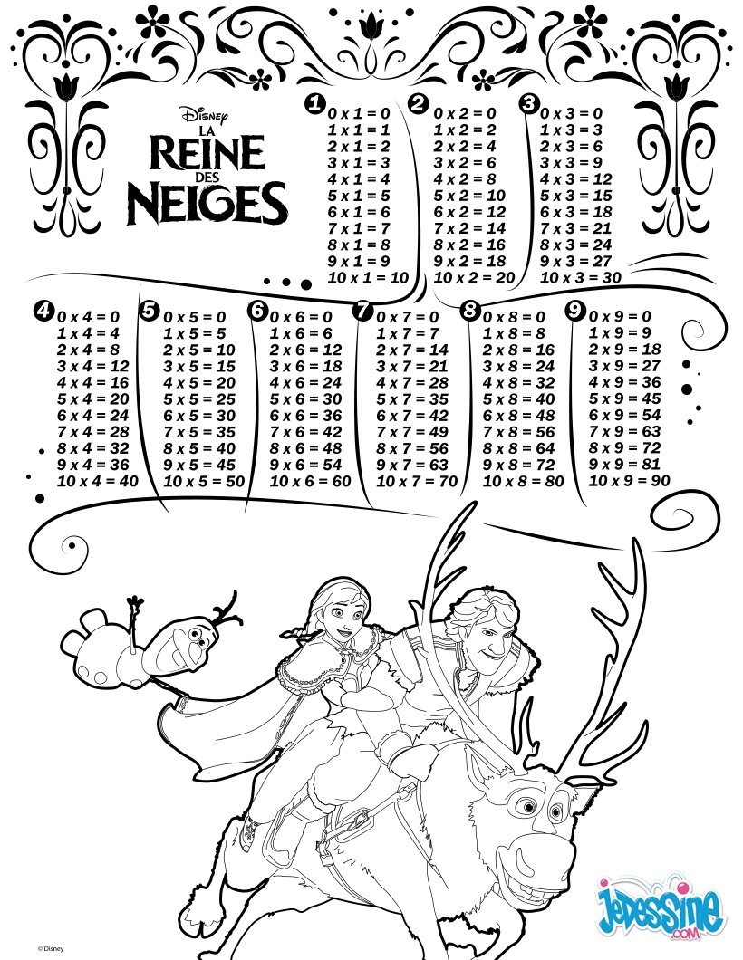 coloriage tables de multiplication la reine des neiges
