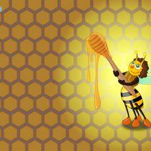 Fond d'écran : Abeille goûtant du miel