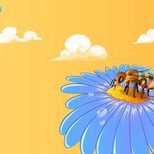 Fond d'écran : Abeille récoltant du pollen