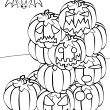 Coloriage d'Halloween : Montagne de citrouilles