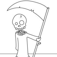 Coloriage d'Halloween : Mort armée de sa faux