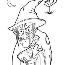 Coloriage d'Halloween : La potion de la sorcière