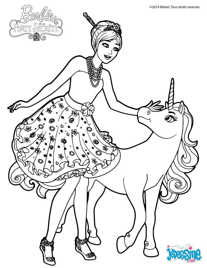 Coloriage Licorne A4.Coloriages Barbie Fr Hellokids Com