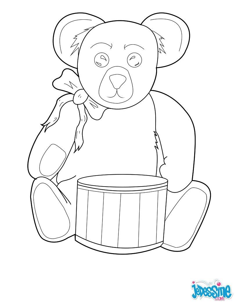 Coloriages nounours avec un tambour - Image de nounours a imprimer ...