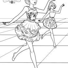 Coloriage Barbie : Jenna et Samantha au cours de danse