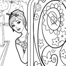 Coloriage Barbie : Alexa ouvre la porte secrète