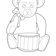 Coloriage : Nounours avec un tambour