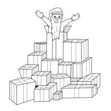 Père Noël et montagne de cadeaux
