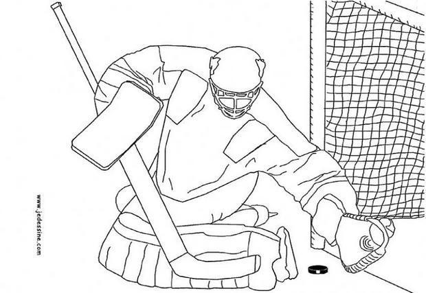 Coloriages coloriage d 39 un gardien de hockey - Gardien de but dessin ...