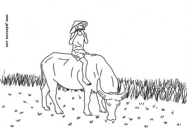 Coloriages coloriage d 39 un joueur de fl te sur un buffle au for Vietnam coloring pages