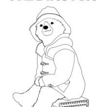 Coloriage : Paddington assis sur sa valise