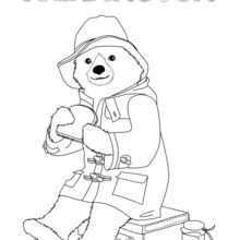 Coloriage : Paddington mange un sandwich