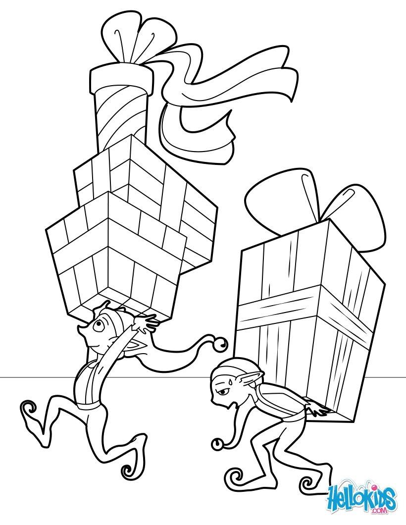 Coloriages lutins distribuant les cadeaux - Coloriage lutin ...