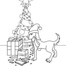 Coloriage : Chien qui mange les cadeaux de Noël