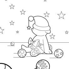 Coloriage : Nounours et boules de Noël