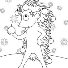 Coloriage : Hérisson décoré pour Noël