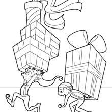 Coloriage : Lutins distribuant les cadeaux