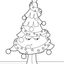 Coloriage : Sapin de Noël mécontent