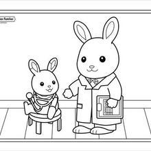 Coloriage : Le fils lapin chez le docteur