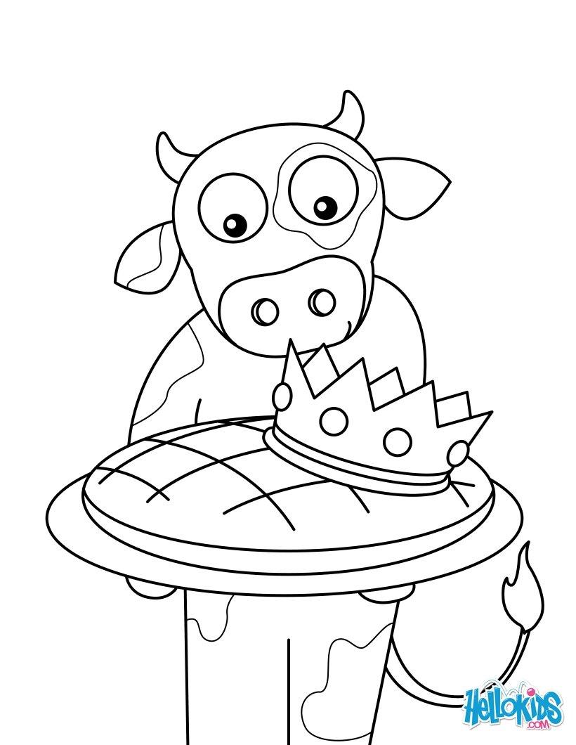 Coloriages une vache et sa galette des rois - Dessin d une vache ...