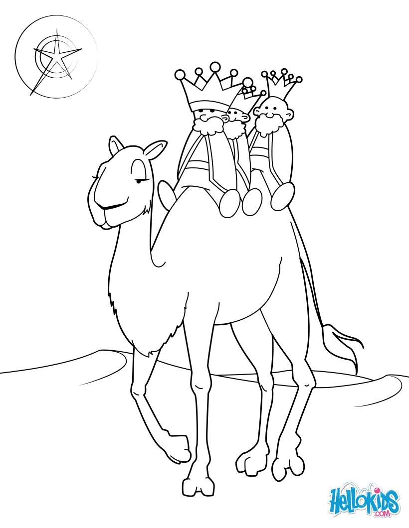 Coloriages les rois mages sur leur chameau - Dessin de chameau ...